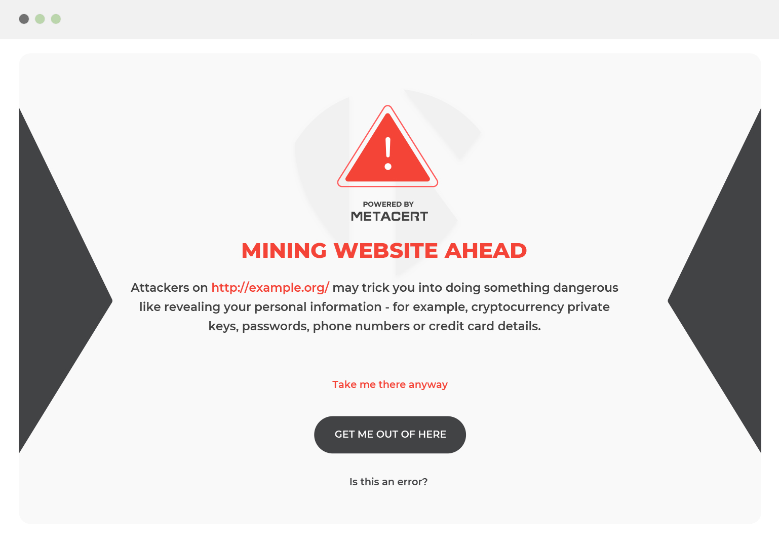 Warning mining website ahead